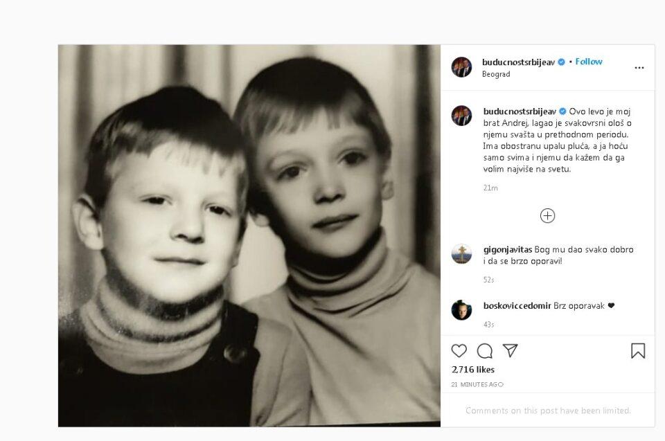 Vučić: Moj brat ima obostranu upalu pluća - Radio televizija Pančevo